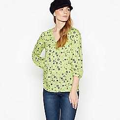 Maine New England - Lime Floral Print Drawstring Hem Top