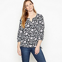Maine New England - Navy Daisy Print Drawstring Hem Top