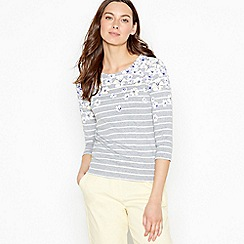 Maine New England - Grey Floral Stripe Cotton Top
