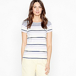 Maine New England - Navy Striped Shell Print Cotton Top