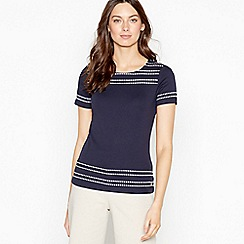 Maine New England - Navy Stabstitch Cotton Top