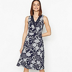 Maine New England - Navy Floral Print Knee Length Dress