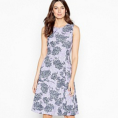 Maine New England - Purple Floral Print 'Charlotte' Knee Length Shift Dress