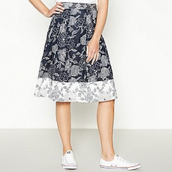 Maine New England - Navy Floral Print Cotton Knee Length A-Line Skirt