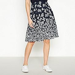 Maine New England - Navy Floral Print Knee Length Skirt