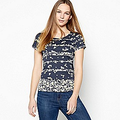 Maine New England - White floral striped cotton t-shirt