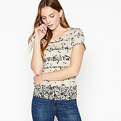 Maine New England - Taupe Floral Stripe Cotton T-Shirt