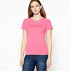 Maine New England - Bright pink broderie yoke cotton t-shirt