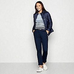 Maine New England - Navy Belted Cotton Stretch Chino Trousers