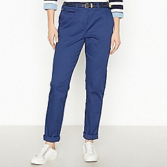 Maine New England - Dark Blue Belted Cotton Stretch Chino Trousers