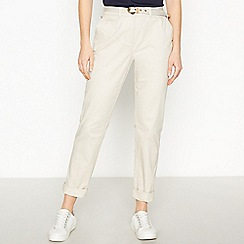 Maine New England - Natural Belted Cotton Stretch Chino Trousers