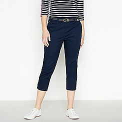 Maine New England - Navy Cotton Stretch Cropped Chino Trousers