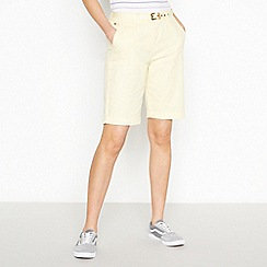 Maine New England - Yellow Stabstitch Belted Chino Shorts