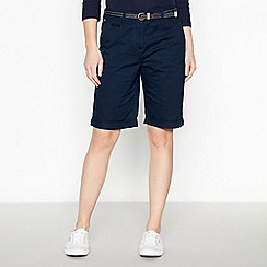 Maine New England - Navy stabstitch belted chino shorts