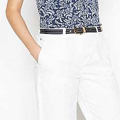 Maine New England - White Stabstitch Belted Chino Shorts