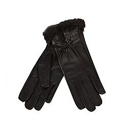 J by Jasper Conran - Black leather faux fur trim gloves