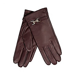 J by Jasper Conran - Dark red buckle detailed leather gloves
