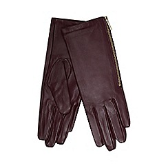 J by Jasper Conran - Dark red leather side zip gloves