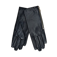 J by Jasper Conran - Navy leather side zip gloves