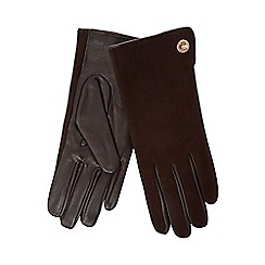 J by Jasper Conran - Brown leather and suede turn lock gloves