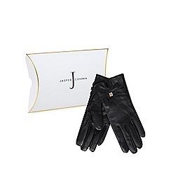J by Jasper Conran - Black leather branded strap gloves in a gift box