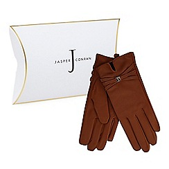 J by Jasper Conran - Tan leather branded strap gloves