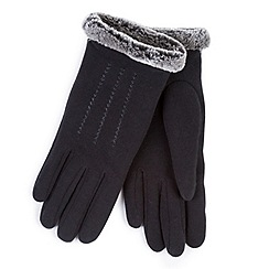 Totes - Black thermal gloves with faux fur cuff and stitching