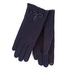 Totes - Navy smart-touch bow detail gloves