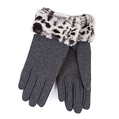 Totes - Grey thermal gloves with faux fur cuff