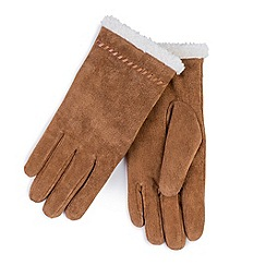 Totes - Tan suede gloves with sherpa cuff