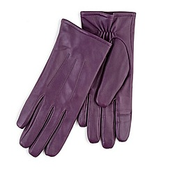 Totes - Purple leather gloves with smart-touch