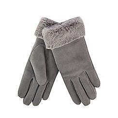 RJR.John Rocha - Grey suede faux fur trim gloves