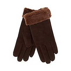 RJR.John Rocha - Dark brown suede faux fur trim gloves