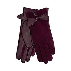 RJR.John Rocha - Dark purple leather bow gloves
