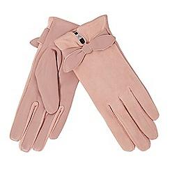 RJR.John Rocha - Light pink leather bow gloves