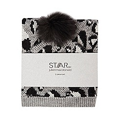 Star by Julien Macdonald - Grey animal print beanie hat and scarf set