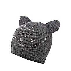 Mantaray - Grey cat embroidered beanie hat