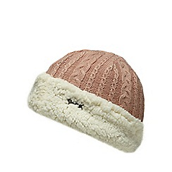 Mantaray - Light pink cable knit hat with wool