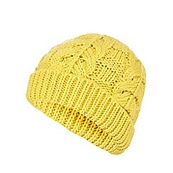Mantaray - Ochre cable knit beanie hat