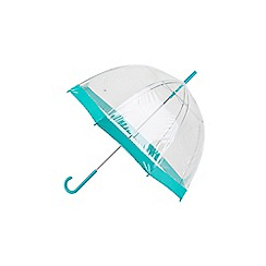 Totes - Dome umbrella with a teal crook handle and teal border
