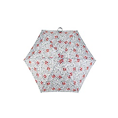Totes - Compact round 5 section umbrella with a forest animal print and 3d fox case