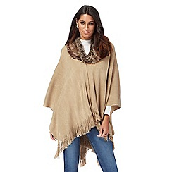 The Collection - Beige faux fur collar wrap