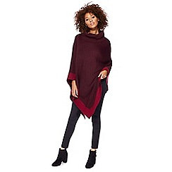 The Collection - Dark red colour block poncho