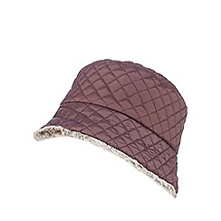 The Collection - Dark red quilted faux fur hat