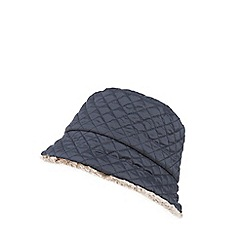 The Collection - Navy quilted faux fur hat