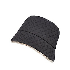 The Collection - Black quilted faux fur hat