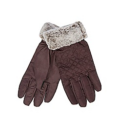 The Collection - Dark red quilted gloves