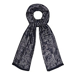 The Collection - Navy floral metallic scarf