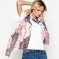 Mantaray - Light pink patchwork floral print scarf
