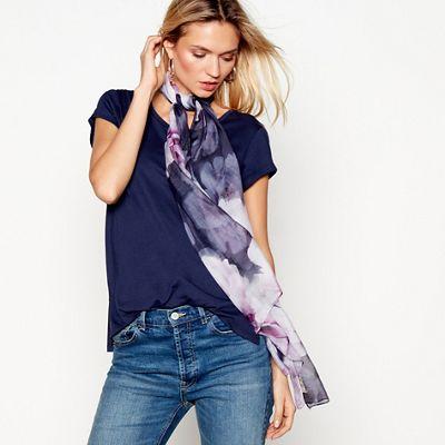Mantaray - Navy giant bloom print scarf